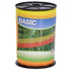 Villanypásztor szalag basic, sárga/narancs, 250 m x 10 mm, 11 ohm/m, 60 kg
