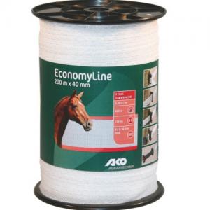 Villanypásztor szalag, fehér, 200 m x 40 mm, 5,5 ohm/m, 130 kg
