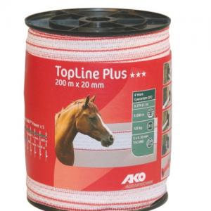 Toplineplus Villanypásztor szalag,fehér/piros, 200m x 20mm, 0,374 ohm/m, 120 kg