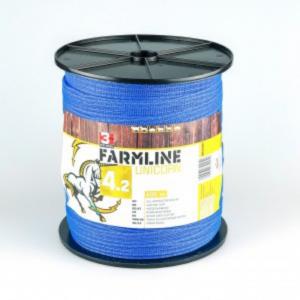 Villanypásztor szalag, 20 mm-es, 400 m, 4 x 0,28 mm rozsdamentes ötvözet vezetővel, kék